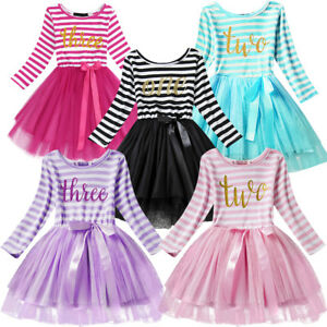 1d92b623618f Toddler Baby Long Sleeve Girl 1st 2nd 3rd Birthday Outfits Tutu ...