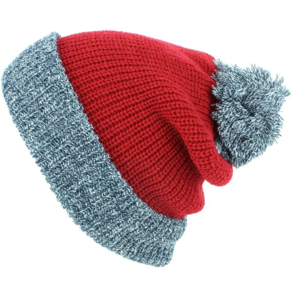 01496669c49 Beanie Bobble Hat Hawkins Chunky Double Knit Marl Turn-up Black Blue Red Pom
