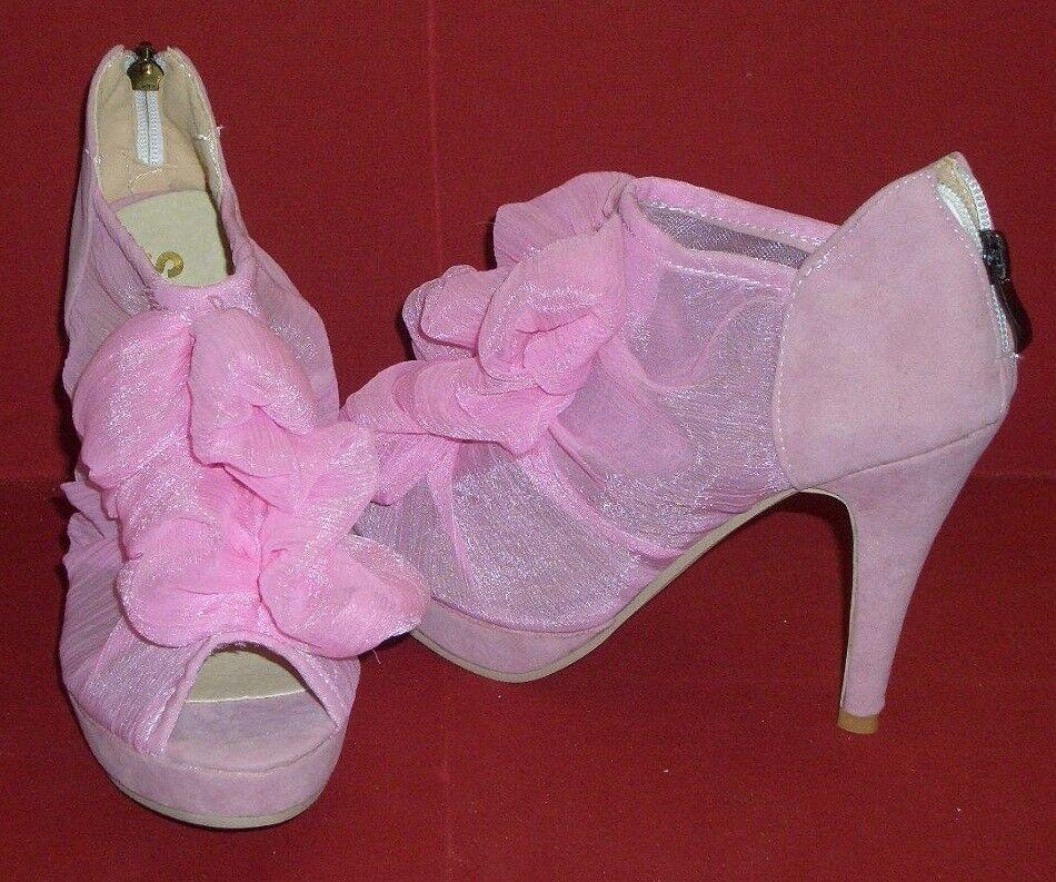 Summery Ruffle High Heels Peeptoes pink Size 35 Sji New