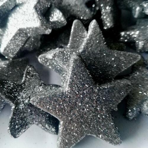 36 x leichte Sterne Silber Streuen Glitzer Dekoration Styropor Weihnachtsdeko