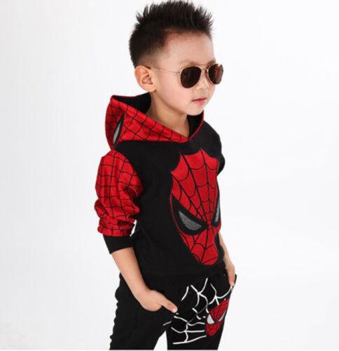 2pcs Baby Boys Spiderman Top+Pants Kids Casual Cartoon Long Sleeve Clothes Sets