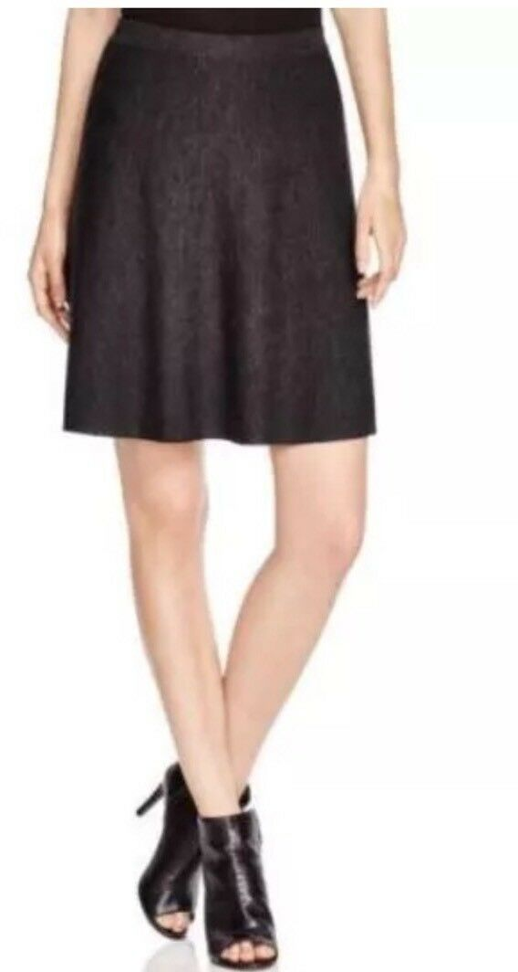 XL Eileen Fisher Charcoal Merino Jersey Knee Length Flared Knit Skirt New