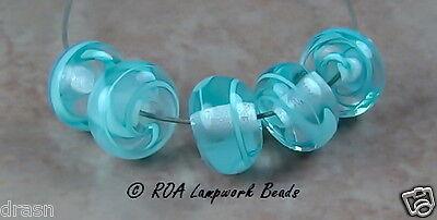 ROA Lampwork 5 Filigree Aqua Handmade Art Glass 7x11 mm Spacer Beads SRA