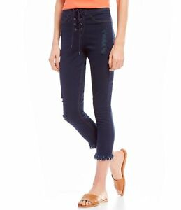 e83262b10b7522 HUE Hi Wasted Lace Up Shipwrecked Cropped Denim Leggings Size S NWT ...
