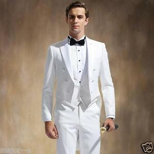 029469f2d09 Slim Fit White Tailcoat 3 Pieces Best Men Suit Formal Wedding Prom ...