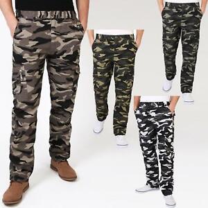 Homme-Pantalon-Imprime-Camouflage-Cargo-Multi-Poches-Style-Militaire