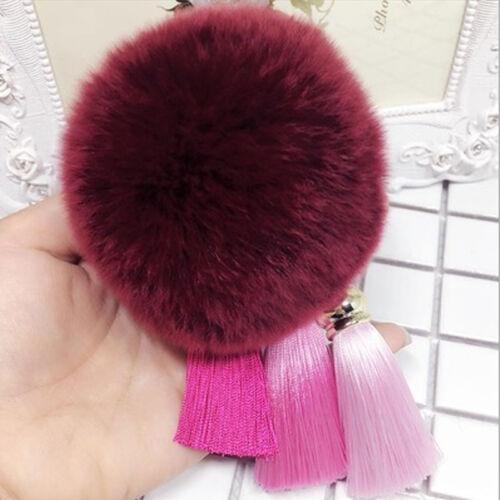 Women Furry Pompom Ball Tassel Keychain Keyring Bag Charm Car Key Rings 34CA