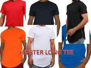 MEN-HIPSTER-ELONGATED-HIP-HOP-T-SHIRTS-WITH-SIDE-ZIPPER-T-552-SOLID