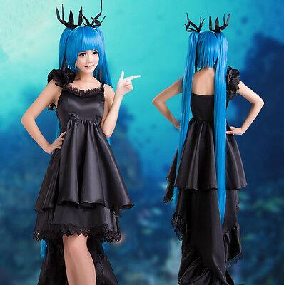Vocaloid Miku Deep Sea Girl Cosplay Kostüm Abend-Kleid Gothic lolita wig Perücke