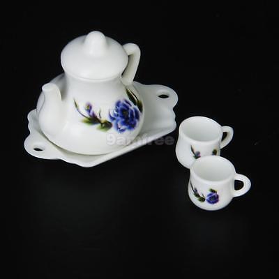 1/12 Dollhouse Miniature flower Teapot kettle w/ lid & 2 Cups +saucer plate Set