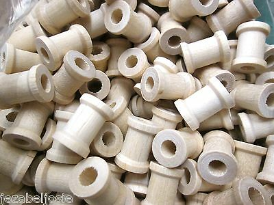 10 25 or 50   12mm x 15mm Wooden Spools  6mm hole  country crafts