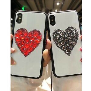 NEW LOVE HEART PINK CLEAR GOLD DIAMOND DESIGNER BLING DIAMANTE CASE COVER IPHONE