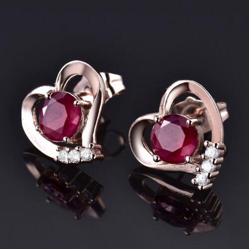Coeur Argent//Or rose rempli Clous D/'oreilles Colorful Crystal Femmes Parti Boucles d/'oreilles