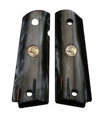 AJAX Custom For 1911 Government Grips BLACK Pearlite w/ GOLD Colt Medallion NEW