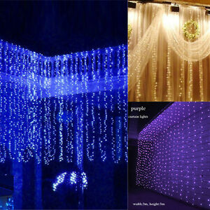 Drape String Lights Ceiling : 300 LED Fairy String Curtain Ceiling Lights Tree Lamps Party Wedding Home Decor eBay