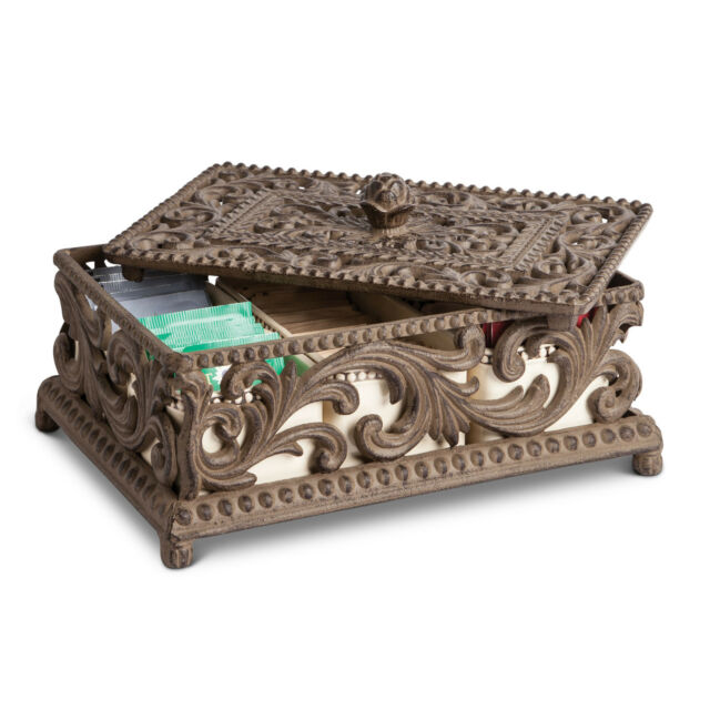 The GG Collection Acanthus Leaf 5 Section Metal & Ceramic Tea Bag Box Holder