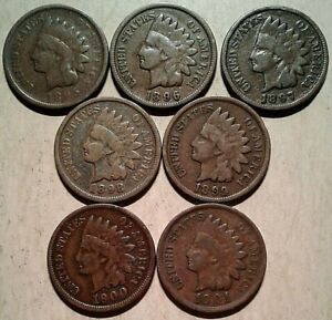 1895-1901-INDIAN-HEAD-CENTS-Run-CIRC-Collection-7-Coin-Lot-Partial-Roll