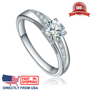 Women-039-s-Stainless-Steel-Cubic-Zirconia-CZ-Solitaire-Engagement-Wedding-Ring