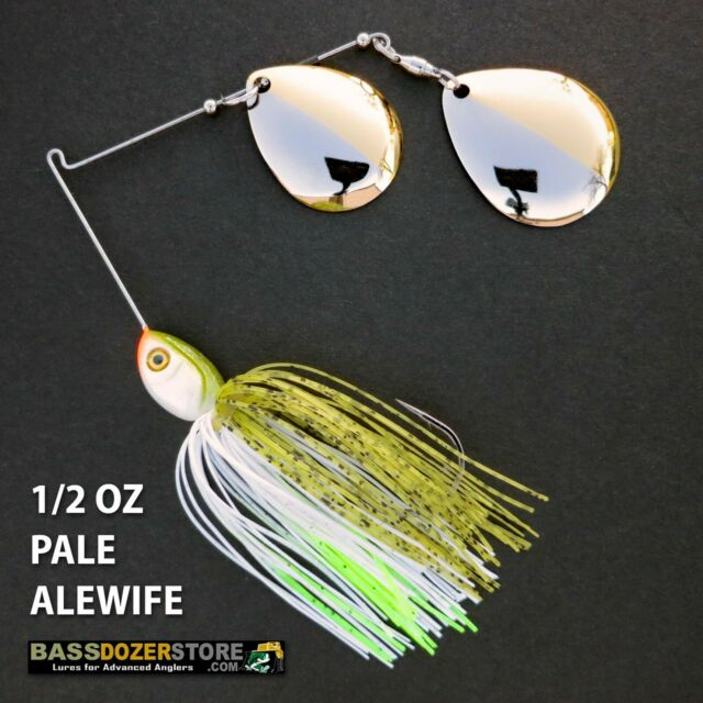 Bassdozer spinnerbaits DEEP CUP 50/50 1/2 oz PALE ALEWIFE spinner bait baits
