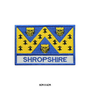 SHROPSHIRE County Flag With Name Embroidered Patch Iron on Sew On Badge