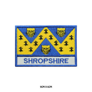 SHROPSHIRE-County-Flag-With-Name-Embroidered-Patch-Iron-on-Sew-On-Badge