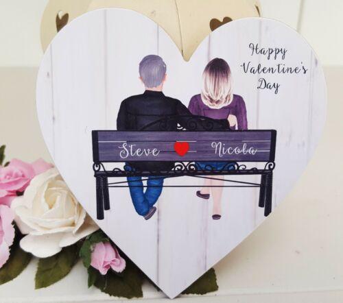 Personnalisé St Valentin en Bois Coeur Cadeau Souvenir Signe Plaque