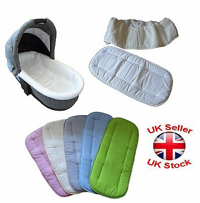 Universal Set of Mattress and Side Liner For Carrycot Replacement New 25x14/""