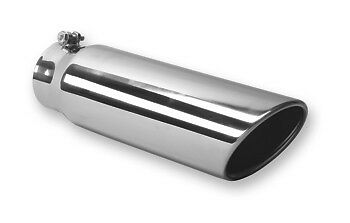 """4/"""" x 5/"""" x 18/"""" STAINLESS STEEL EXHAUST TIP TURBO DIESEL BOLT ON"""