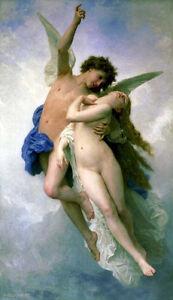 Schoenes-Olgemaelde-bourguereau-Psyche-und-Amor-Flying-romantische-Junge-Liebhaber-36-034
