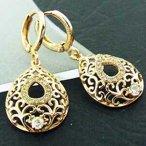 EARRINGS-HOOP-DROP-18K-YELLOW-G-F-GOLD-DIAMOND-SIMULATED-FILIGREE-ANTIQUE-DESIGN