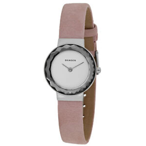 Skagen-Lenora-White-Dial-Pink-Leather-Band-Women-039-s-Watch-SKW2425-SD