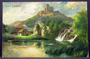 Ruins-Pyrmont-with-Advertising-Stamp-Old-Ak-Postcard-Y-3093