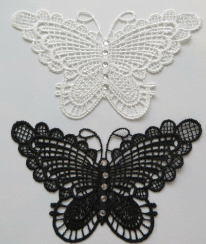 2 Craft Embroidery lace Butterfly sewing decor rhionestone applique Scrapbooking