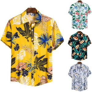 Men-039-s-Ethnic-Floral-Hawaiian-Shirt-Short-Sleeve-Tops-Beach-Holiday-Casual-Blouse