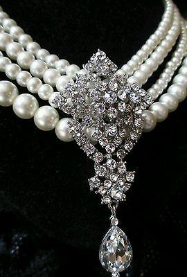 chunky Vintage Pearl Necklace Multi Strand massive Rhinestone wedding prom