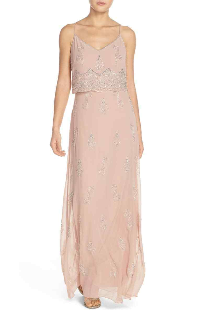 425 ADRIANNA PAPELL PAPELL PAPELL WOMEN'S PINK SLEEVELESS BEADED POPOVER DRESS GOWN SIZE 4 372df6