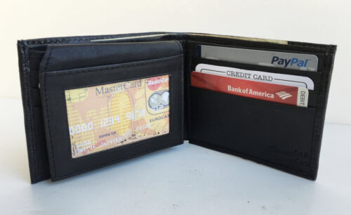 Card ID Holder Flap Top Bifold Wallet Black Men/'s Leather 8