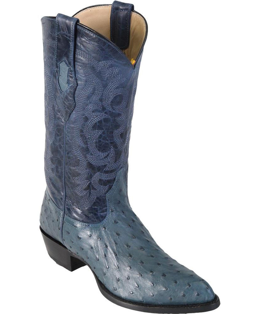 LOS ALTOS Uomo JEAN BLUE GENUINE FULL QUILL OSTRICH WESTERN COWBOY J-TOE BOOT EE+