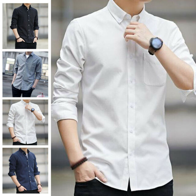 Men's Button Down Shirts Slim Fit Business Work Lapel Collar Long Sleeve Tops