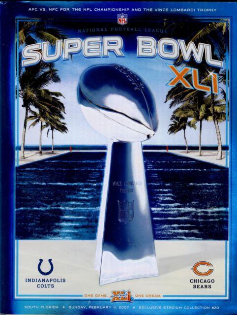 size 40 a12db 929cf Super Bowl XLI 41 NFL Programme Colts Bears US STADIUM REFLECTIVE EDITION
