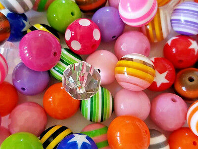 Mixed Paired Multi-Color Acrylic Beads 20mm Chunky Bubblegum Beads Lot of 50 #12