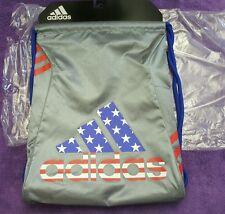 New Adidas Sackpack String Bag Grey/blue/Red & White Stars