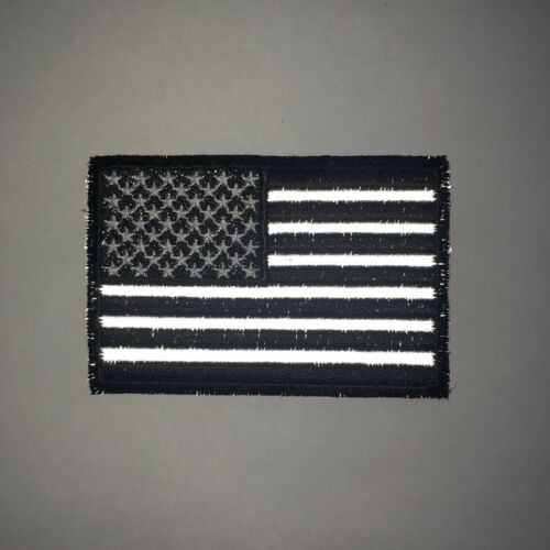 "3/"" Black White /& Reflective American US Flag Sew or Iron on Patch Biker Patch"