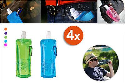 4x Flexible Foldable Water Bottle - 480ml Each - Reusable
