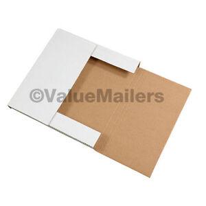 100 - 12 1/8 x 9 1/8 x 2 White Multi Depth Bookfold Mailer Book Box Bookfolds