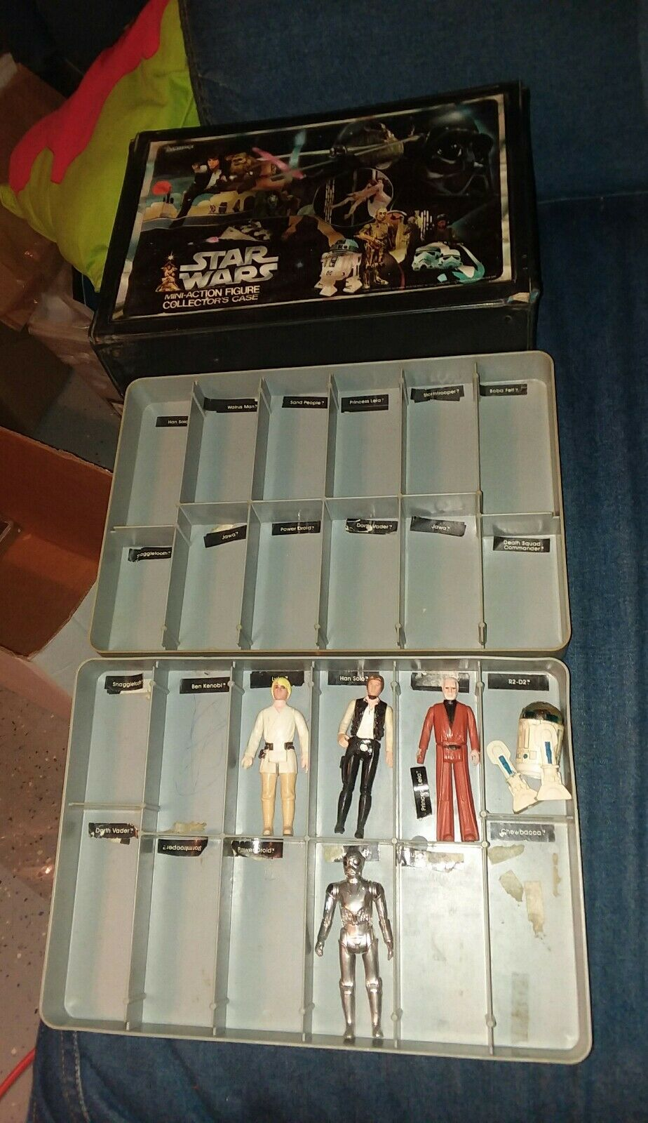 1977 STAR WARS Mini Action FIGURE Collectors CASE by Kenner r2d2 han solo obiwam