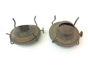Two-Antique-Old-Brass-amp-Metal-Waterbury-Co-Eagle-Oil-Lamp-Burners-Parts-Hardware