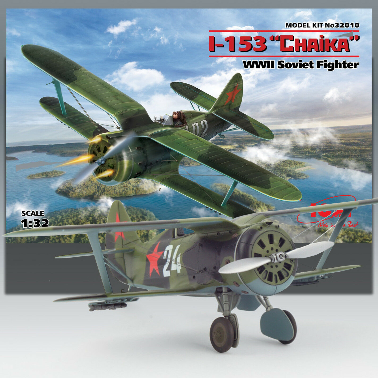 ICM 1 32 I-153 'CHAIKA' (SEAGULL) RUSSIAN WWII BIPLANE FIGHTER