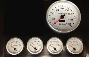 C2 5-Gauge Set, 5 inch Speedo, White Dials, Silver Bezels, 0-90 Ohm Fuel Lvl