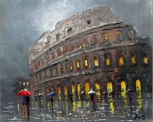 100-HAND-PAINTED-ART-ACRYLIC-OIL-PAINTING-LANDSCAPE-COLOSSEUM-CANVAS16X20INCH